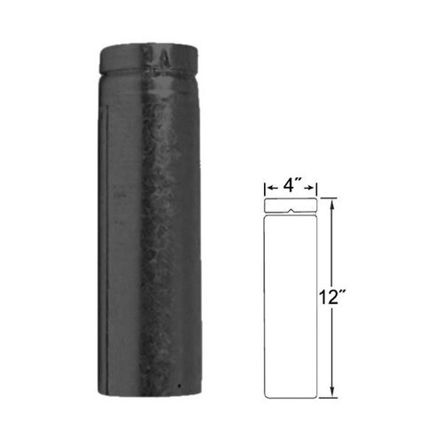 4'' x 12'' Adjustable Length Selkirk VP Pellet Vent Pipe - Black - 4VP-EZAJ12B
