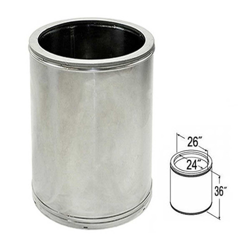 24'' x 36'' DuraTech Stainless Steel Chimney Pipe - 24DT-36SS