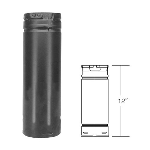3'' x 12'' PelletVent Pro Black Pellet Stove Chimney Pipe