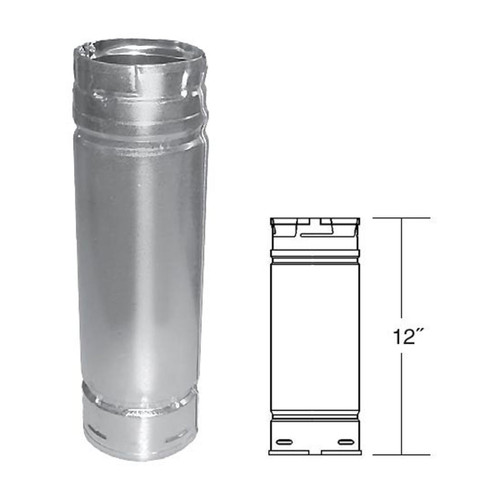 3'' x 12'' PelletVent Pro Stainless Steel Pellet Stove Chimney Pipe - 3PVP-12SS