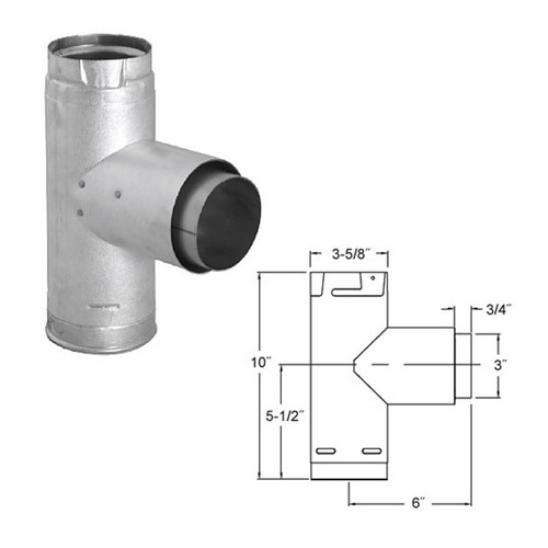 3'' PelletVent Pro Adapter Tee with Clean-Out Tee Cap - 3PVP-TAD