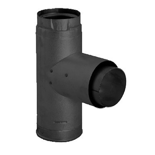 3'' PelletVent Pro Black Adapter Tee with Clean-Out Tee Cap - 3PVP-TADB