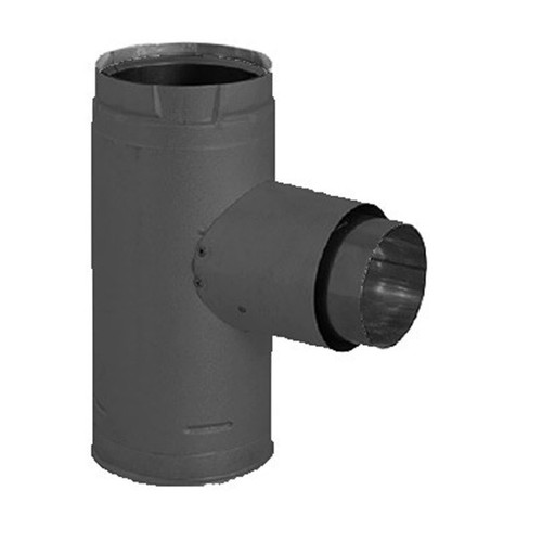 3'' PelletVent Pro Black Increaser Adapter Tee with Clean-Out Tee Cap - 3PVP-TADX4B
