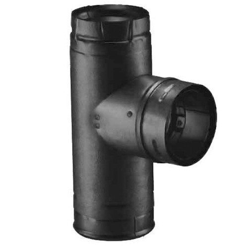 3'' PelletVent Pro Black Single Tee with Clean-Out Tee Cap - 3PVP-TB