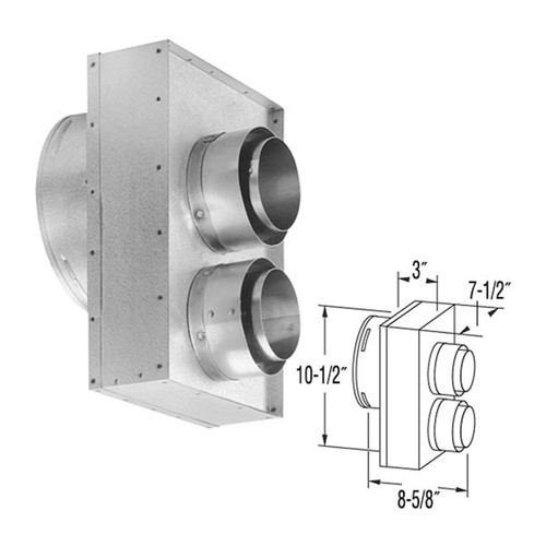 4'' x 6 5/8'' DirectVent Pro Co-Axial to Co-Linear Appliance Connector for Vermont Castings Stoves - 46DVA-VCL