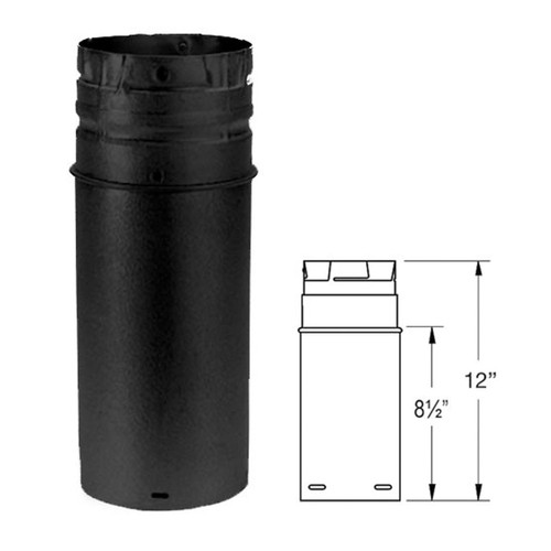 4'' x 12'' PelletVent Pro Black Pellet Stove Chimney Pipe Extension