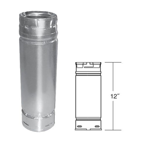 4'' x 12'' PelletVent Pro Stainless Steel Pellet Stove Chimney Pipe - 4PVP-12SS