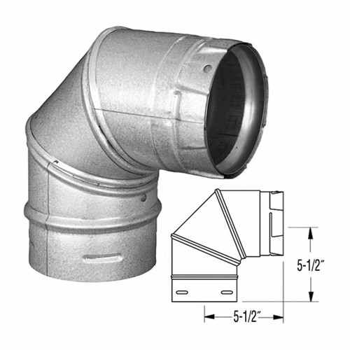 4'' PelletVent Pro Galvalume 90 Degree Elbow - 4PVP-E90