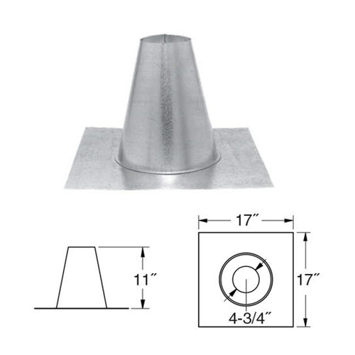 4'' PelletVent Pro Tall Cone Roof Flashing - 4PVP-FF