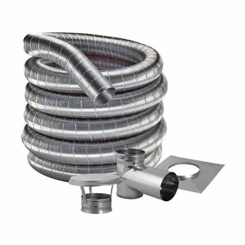 5'' DuraFlexSS 304 Tee Kit with 30' Flexible Stainless Steel Chimney Liner - 5DF304-30KT