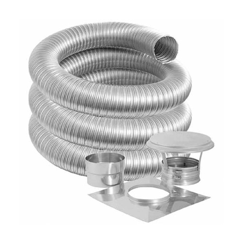 5'' DuraFlexSS PRO Basic Kit with 15' Flexible Stainless Steel Chimney Liner - 5DFPRO-15K