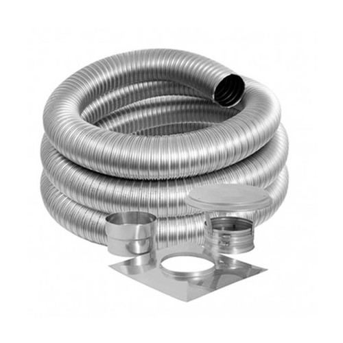 5'' DuraFlex Smooth Wall Basic Kit with 15' Flexible Stainless Steel Chimney Liner - 5DFSW-15K