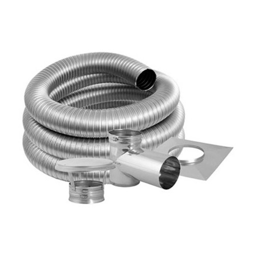 5'' DuraFlex Smooth Wall Tee Kit with 15' Flexible Stainless Steel Chimney Liner - 5DFSW-15KT