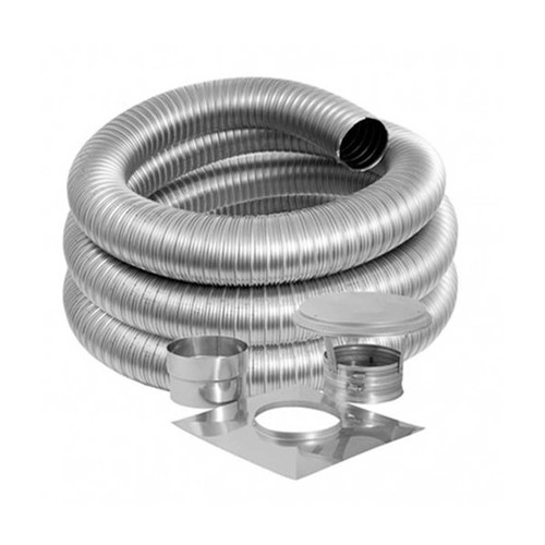 5'' DuraFlex Smooth Wall Basic Kit with 25' Flexible Stainless Steel Chimney Liner - 5DFSW-25K