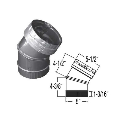 5'' DuraLiner 30 Degree Stainless Steel Elbow - 5DLR-E30