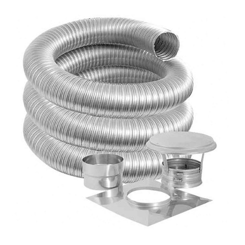 6'' DuraFlexSS 304 Basic Kit with 15' Flexible Stainless Steel Chimney Liner - 6DF304-15K