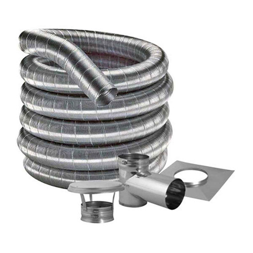 6'' DuraFlexSS 304 Tee Kit with 30' Flexible Stainless Steel Chimney Liner - 6DF304-30KT