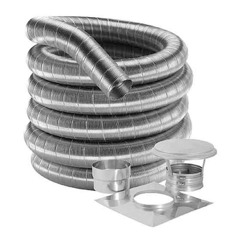 6'' DuraFlexSS 316 Basic Kit with 15' Flexible Stainless Steel Chimney Liner - 6DF316-15K
