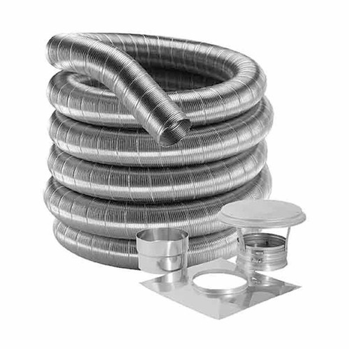 6'' DuraFlexSS 316 Basic Kit with 25' Flexible Stainless Steel Chimney Liner - 6DF316-25K
