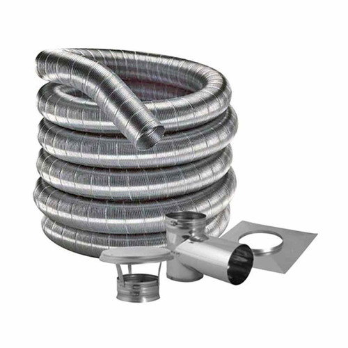 6'' DuraFlexSS 316 Tee Kit with 25' Flexible Stainless Steel Chimney Liner - 6DF316-25KT