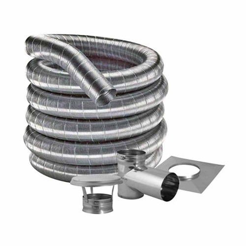 6'' DuraFlexSS 316 Tee Kit with 30' Flexible Stainless Steel Chimney Liner - 6DF316-30KT