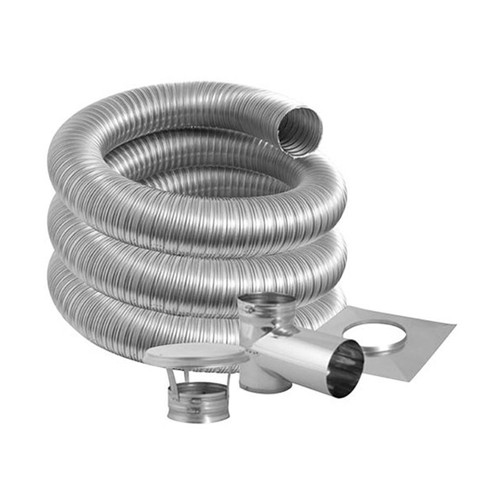 6'' DuraFlexSS PRO Tee Kit with 15' Flexible Stainless Steel Chimney Liner - 6DFPRO-15KT