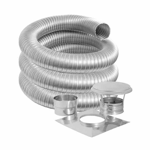 6'' DuraFlexSS PRO Basic Kit with 35' Flexible Stainless Steel Chimney Liner - 6DFPRO-35K