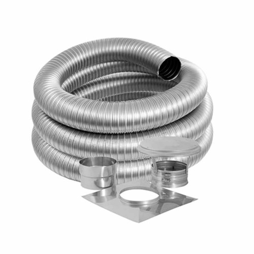6'' DuraFlex Smooth Wall Basic Kit with 30' Flexible Stainless Steel Chimney Liner - 6DFSW-30K