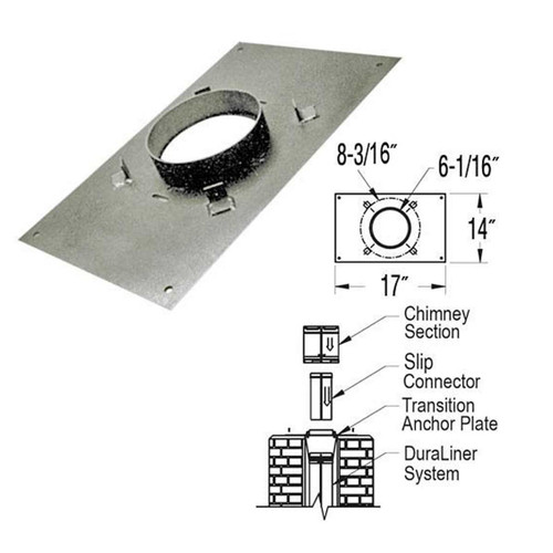 6'' DuraLiner 14'' x 17'' DuraTech Transition Anchor Plate - 6DT-AP14X17