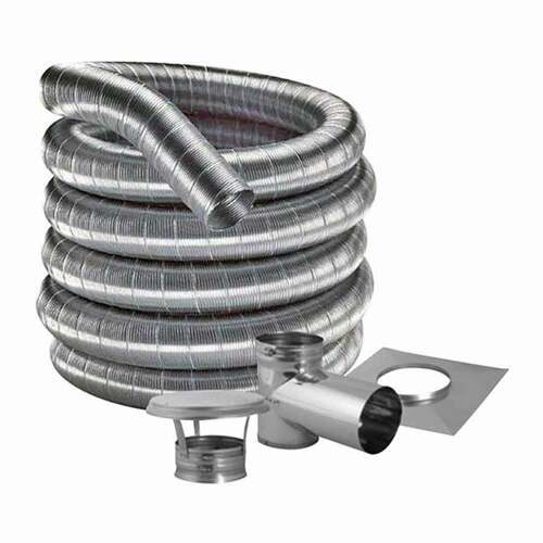 7'' DuraFlexSS 304 Tee Kit with 15' Flexible Stainless Steel Chimney Liner - 7DF304-15KT