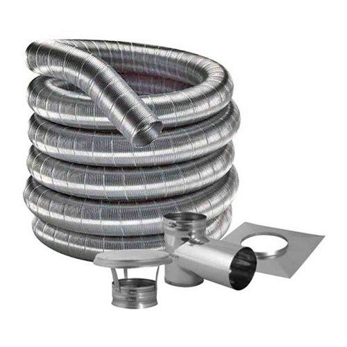7'' DuraFlexSS 304 Tee Kit with 25' Flexible Stainless Steel Chimney Liner - 7DF304-25KT