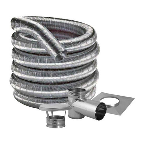 7'' DuraFlexSS 316 Tee Kit with 25' Flexible Stainless Steel Chimney Liner - 7DF316-25KT