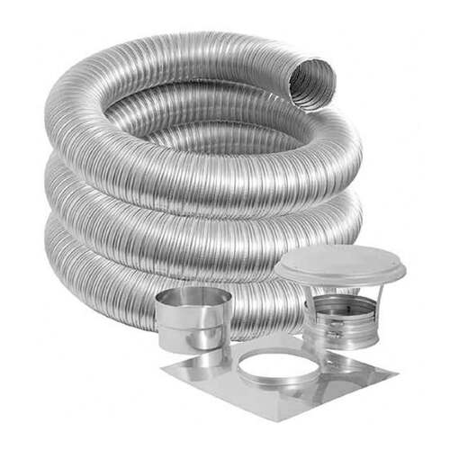 7'' DuraFlexSS PRO Basic Kit with 15' Flexible Stainless Steel Chimney Liner - 7DFPRO-15K