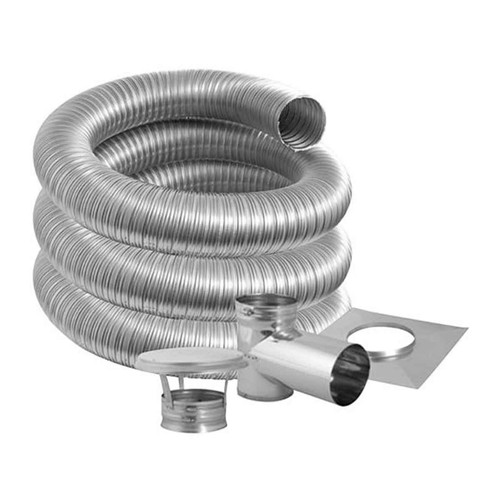 7'' DuraFlexSS PRO Tee Kit with 15' Flexible Stainless Steel Chimney Liner - 7DFPRO-15KT