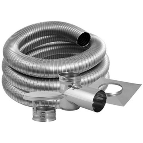 7'' DuraFlex Smooth Wall Tee Kit with 15' Flexible Stainless Steel Chimney Liner - 7DFSW-15KT