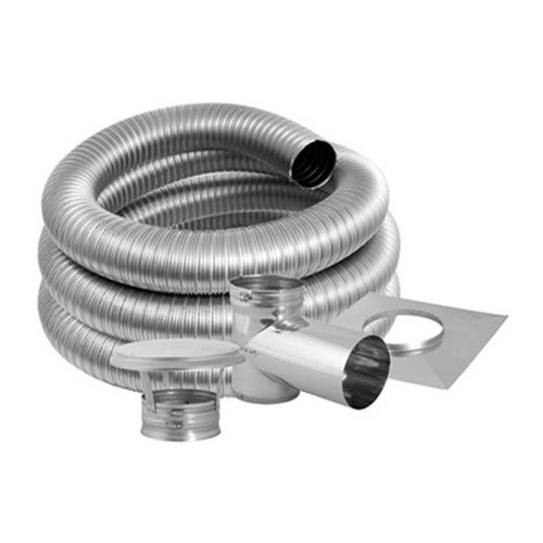 7'' DuraFlex Smooth Wall Tee Kit with 30' Flexible Stainless Steel Chimney Liner - 7DFSW-30KT