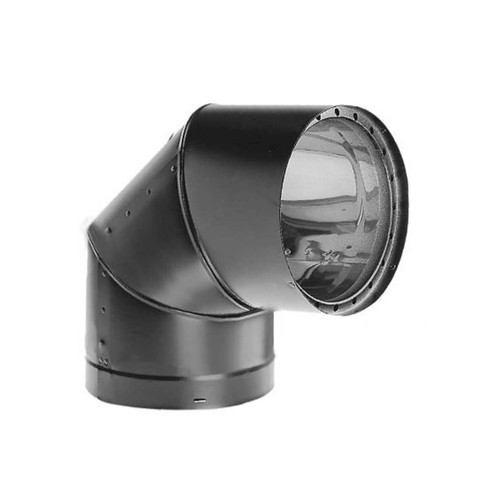 7'' DVL 90 Degree Double-Wall Black Elbow - 7DVL-E90