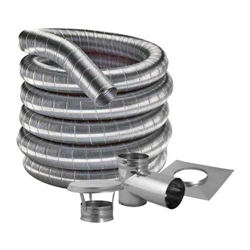 8'' DuraFlexSS 304 Tee Kit with 15' Flexible Stainless Steel Chimney Liner - 8DF304-15KT