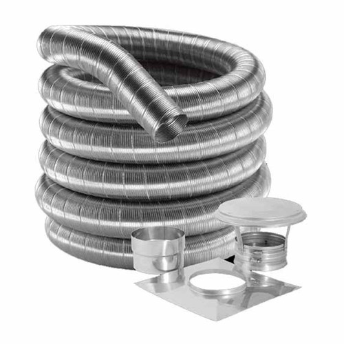 8'' DuraFlex 304 Basic Kit with 25' Flexible Stainless Steel Chimney Liner - 8DF304-25K