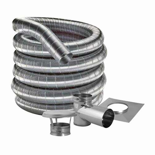 8'' DuraFlexSS 304 Tee Kit with 30' Flexible Stainless Steel Chimney Liner - 8DF304-30KT