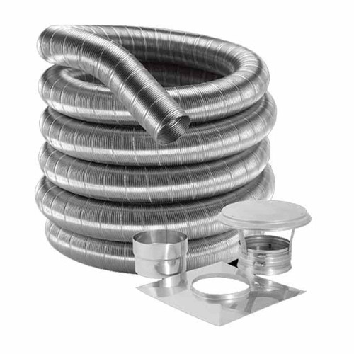 8'' DuraFlex 304 Basic Kit with 35' Flexible Stainless Steel Chimney Liner - 8DF304-35K