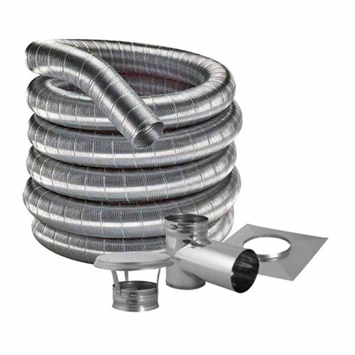 8'' DuraFlexSS 316 Tee Kit with 15' Flexible Stainless Steel Chimney Liner - 8DF316-15KT