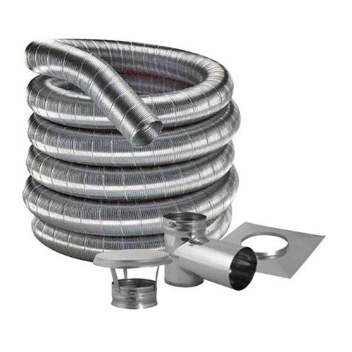 8'' DuraFlexSS 316 Tee Kit with 25' Flexible Stainless Steel Chimney Liner - 8DF316-25KT