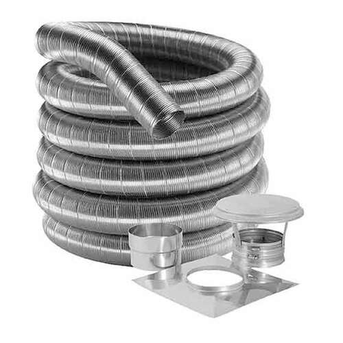 8'' DuraFlex 316 Basic Kit with 35' Flexible Stainless Steel Chimney Liner - 8DF316-35K