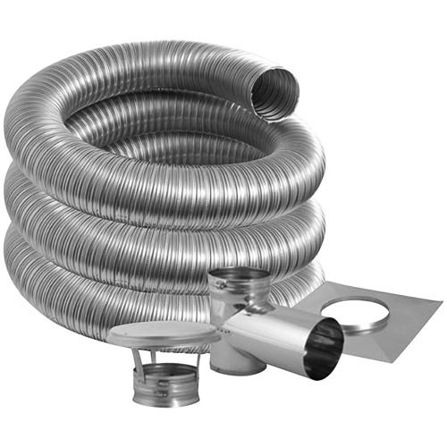 8'' DuraFlexSS PRO Tee Kit with 15' Flexible Stainless Steel Chimney Liner - 8DFPRO-15KT