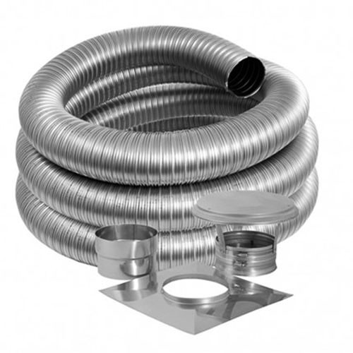 8'' DuraFlex Smooth Wall Basic Kit with 30' Flexible Stainless Steel Chimney Liner - 8DFSW-30K