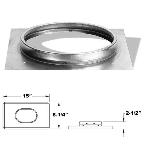 8'' DuraLiner Oval Flat Stove Connector