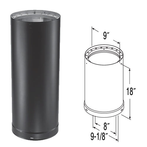8'' x 18'' DVL Double-Wall Black Stove Pipe - 8DVL-18