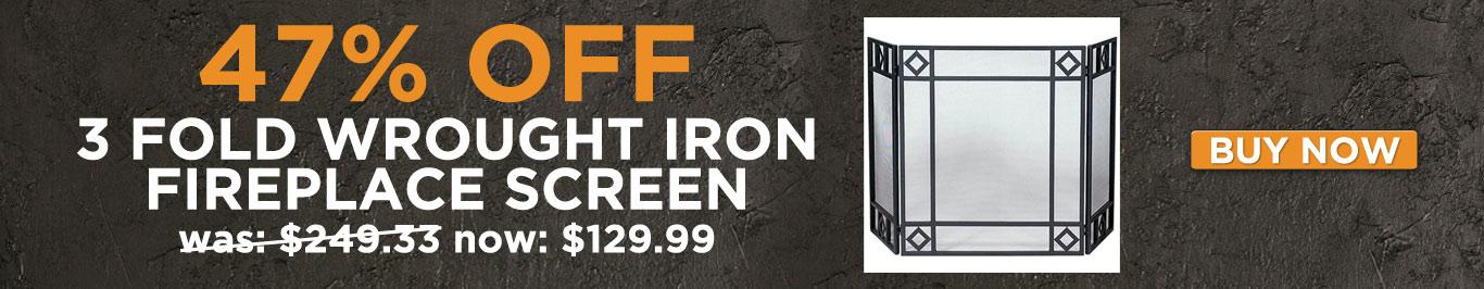 47% Off 3 Fold Wrought Iron Fireplace Screen