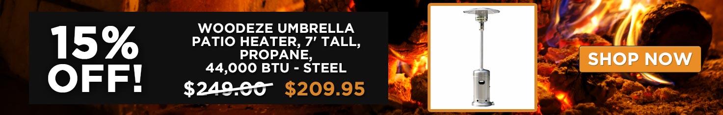 15% off Woodeze Umbrella Patio Heater, 7' tall, Propane, 44,000 BTU - Steel